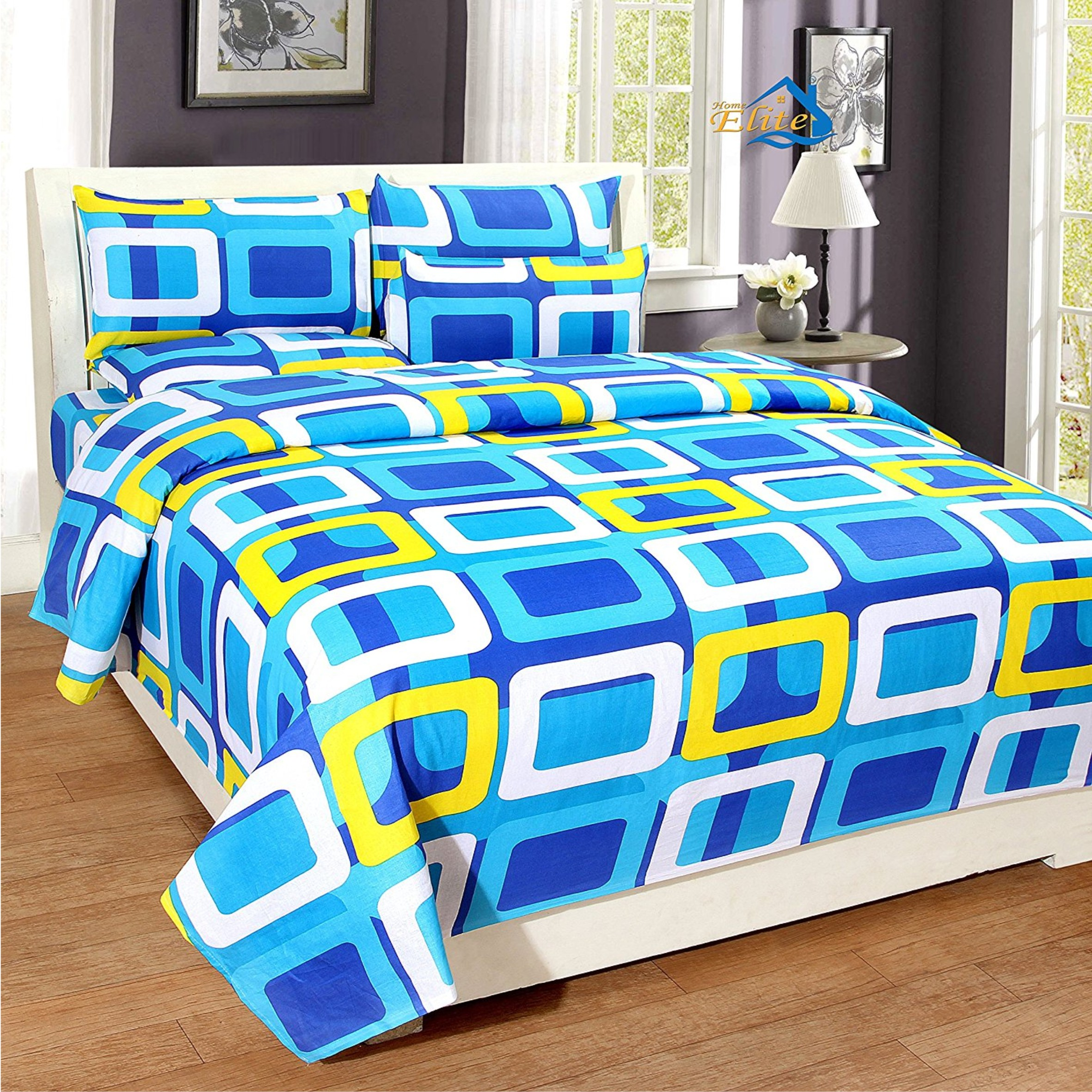 Home Elite Dynamic Cotton Double Bedsheet With 2 Pillow Covers U2013 Geometric,  Blue [Gnp 510]