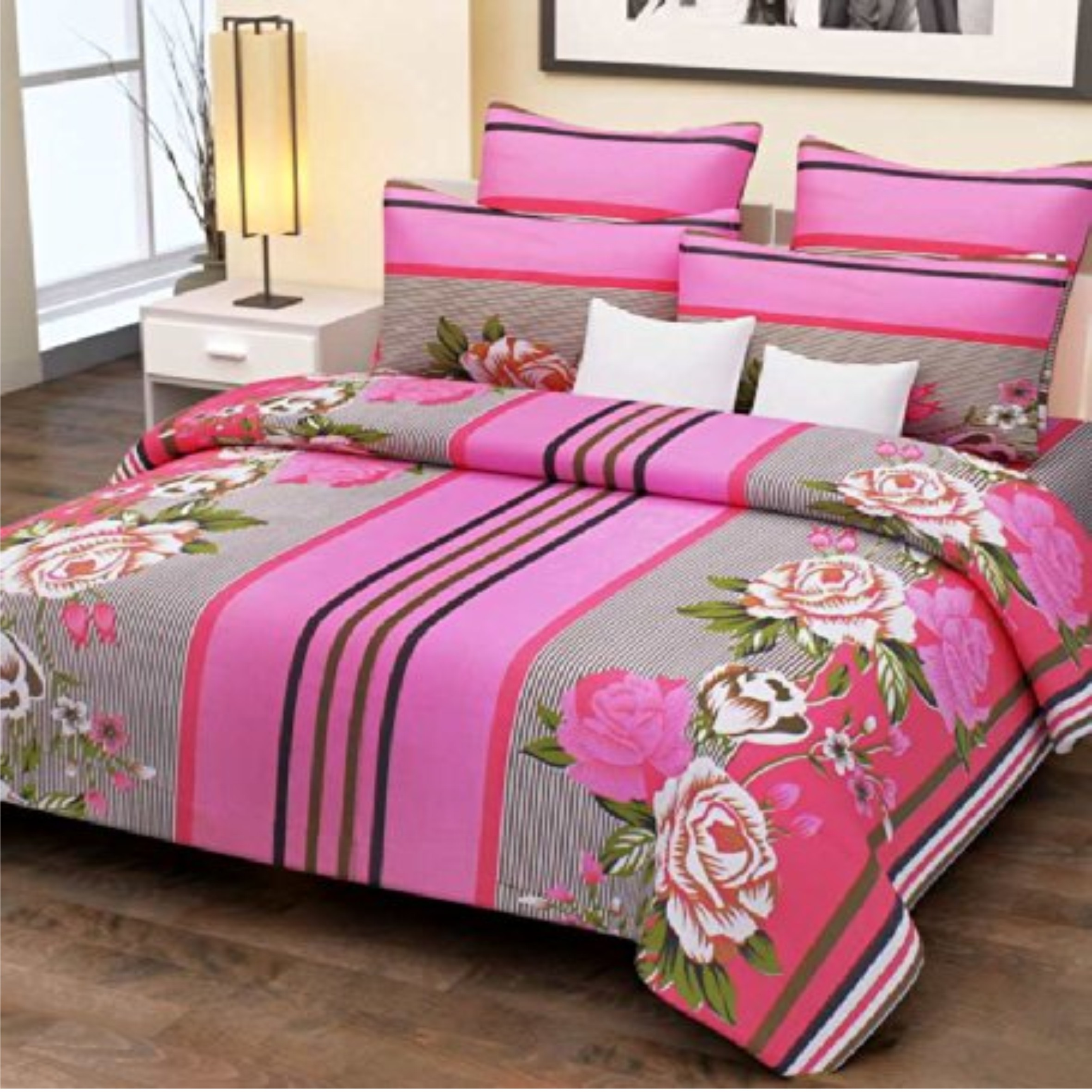 Pink Stripes And Flowers Double Bed Sheet With 2 Pillow Covers Home Candy  100% Cotton [Gnp 509]